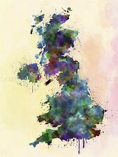 PAINTING MAP UNITED KINGDOM NORTHERN IRELAND PAINT SPLASH COLOUR POSTER BMP10666