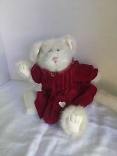 Boyds Collection Tan Cat or mouse with Red Coat