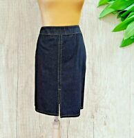 Ann Taylor Factory Denim  Pencil Skirt Size 10P 10 petite Front slit  dark wash