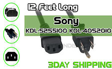 New 12Ft Sony KDL-52S5100 KDL-40S2010 A/C Power Cord Cable Plug
