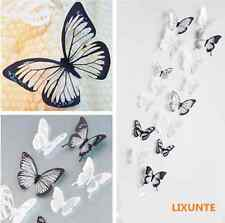 18PC Black/White Room Wall Window Crystal Butterfly Sticker Art Decal