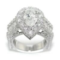 5.80 TCW Diamonds Pair Shape Halo Engagement Ring In 18k White Gold Size 6.25