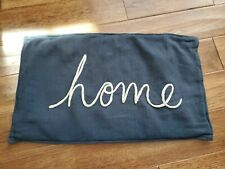 Pottery Barn Home Sentiment Lumbar Pillow Cover Embroidered 16x26