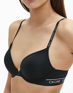 Calvin Klein CK One Women's Push Up Plunge Padded Bra Black 32A