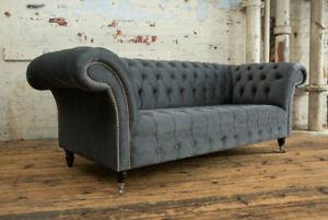 Klassische Chesterfield Orange Leder Textil Couch Sofa Sitz Polster Stoffsofas