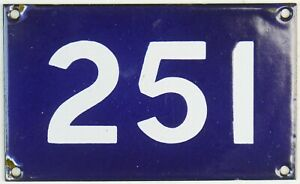 Old Australian used house number 251 door gate enamel metal sign in French blue