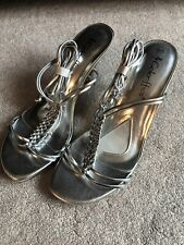 NEW Coloriffics Silver Metallic Sandal Heels Shoes Braided Strap Ankle Ties sz 8