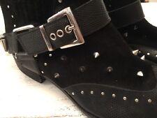 Botas al Tobillo de Cuero Negro Tachonado Botas De Vaquero Damas Uk Size 6 UE tamaño 39