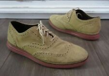 Men's COLE HAAN Original Grand OS Wingtip II Tan Suede Oxfords Shoes size 10.5M