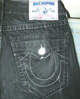 *HOT AUTHENTIC Men's TRUE RELIGION @ SLIM STRAIGHT LEG - BLACK WAX Jeans 32 x 34