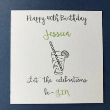 Personalised Female Birthday Card - Friend Sister Daughter 30th 40th 50th - Gin