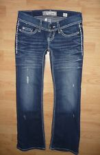 Buckle BKE Denim Stella ultra low thick stitch embellished flare jeans 25 Short