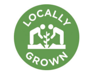 "LOCALLY GROWN Food STORE LABELS 1000 PER ROLL STICKERS 1"" Circle Size"