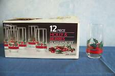 NEW 12 Libbey Holly & Berries glass tumblers 16 oz Christmas BNIB