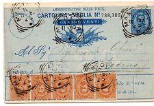 1893 REGNO CARTOLINA VAGLIA 20 LIRE CON STRISCIA DI 5 20 CENTESIMI C/4656