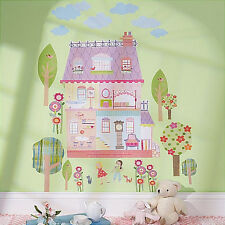 WALLIES PLAY HOUSE dollhouse wall stickers MURAL 29 decals girls furniture trees