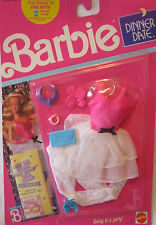 BARBIE DINNER DATE FASHION ~ VINTAGE 1989 - WHITE SATIN/TULLE w/PINK TOP ~ NEW