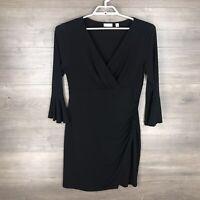 New York & Company Women's Large Surplice Jersey Dress Black Ruffle Bell Sleeve