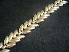 """Vintage Monet Light Goldtone Metal Laurel Leaf Link 7.25"""" Bracelet"""