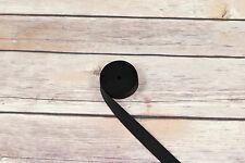 "5 Yards Black 5/8"" (10mm) Satin Plush Back Strap Elastic Latex Free"