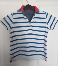 NEXT Lovely Boys Age 4 Polo Shirt White Striped Red Details VGC