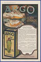 Vintage 1919 ARGO Corn Starch Food Kitchen Ephemera Art Decor Print Ad