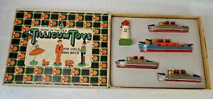Vintage Tillicum Toys #115 Wooden Battle Fleet Navy Ship Set Very Good With Box