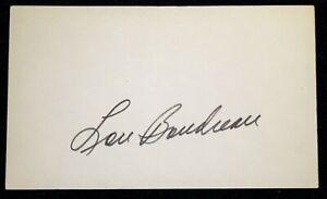 Lou Boudreau Cleveland Indians Signed Index Card HOF D 2001