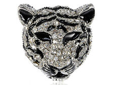Emblem Diamante Rhinestone Black White Stripe Snow Tiger Cat Head Pin Brooch New
