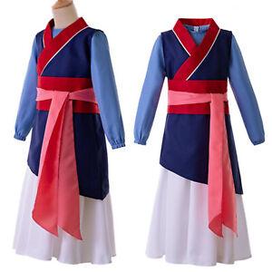Kid Girl Hua Mulan Hanfu Long Sleeve Contrast Color Belt Chinese Heroine Costume