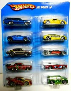 RARE Hot Wheels 2010 Blue Bugatti Veyron Porsche GT Wal-Mart Exclusive 10 pack