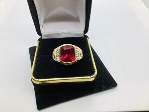 14k Gold. Ruby  Men's Gemstone Ring Size 10.5