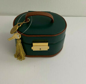 1997 Wolf Designs Green Leather Travel Jewelry Box With Key New