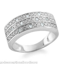 MENS WOMENS GENUINE DIAMOND WEDDING ANNIVERSARY BAND RING SZ 7 + GIFT!