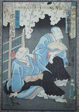 Two Kabuki Actors Vintage Original Antique Japanese Utagawa Woodblock Print