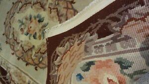 Red edged thick vintage wool rug