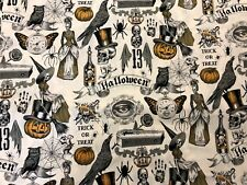 Gothic Spooky Halloween Alexander Henry Trickery Skeleton Macabre Fabric BTHY