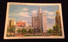 Vintage City Hall Park New York City Postcard With 1949 Postmark 1 Cent Cover