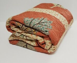 Quilt Coverlet Autumn Fall Leaves Coral Cream Teal Machine Quilted 78x66