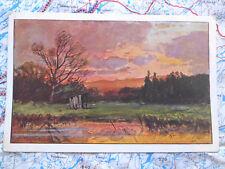 Landschaft Sonnenuntergang Gemälde Kunstwerk Postkarte Ansichtskarte 3010