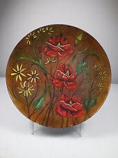 Large Vintage Enamel On Copper Plate ~Raised Yellow Daisies, Foilage & Red Roses