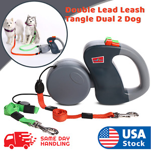 Retractable Pet Dog Double Lead Leash Tangle Dual 2 Dog 50bs Pounds Per Dog