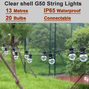 13M w/ 20 Bulbs Clear G50 Globe Mains Powered Outdoor Fairy Garden String Lights