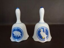 Pair of Porcelain Bells Country Farm Animals Duck & Pig (Cat.#7A030)