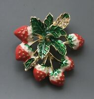 Unique Strawberry Brooch ienamel on gold tone metal