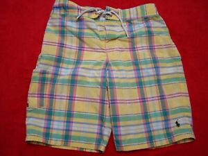 Polo Ralph Lauren Boys Size M 10-12 Yellow Plaid Multicolor Swim Trunks Shorts