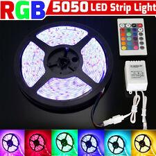 5M RGB 5050 300 LEDs Tape Strip light SMD 12V DC+ 44 Key IR remote controller UK