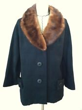 Vintage 50s women jacket black coat mink? collar large button Lou Green size S M