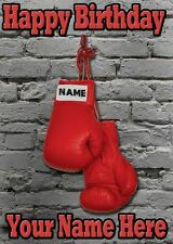 Boxing Gloves Birthday Card PIDS54  Personalised Card Dad mum son any name