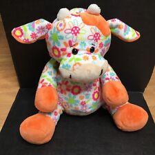 Ganz Plush Floral Cutie Cow Stuffed Animal Flowers Colorful Orange Pink Green